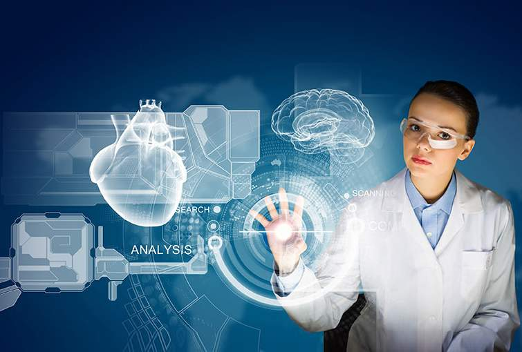 Analytics in Healthcare - A Case study. Image of a medical professional using analytics in complex medical procedures